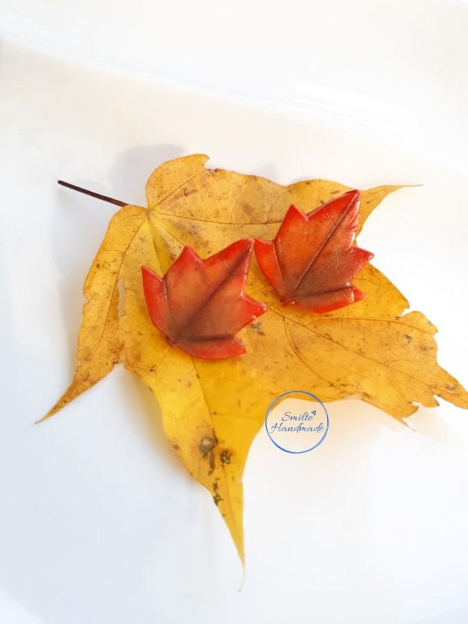 Polimerinio molio auskarai lapai